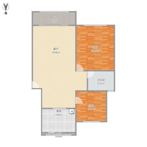 江南星城二期2室1厅1卫1厨132.00㎡户型图
