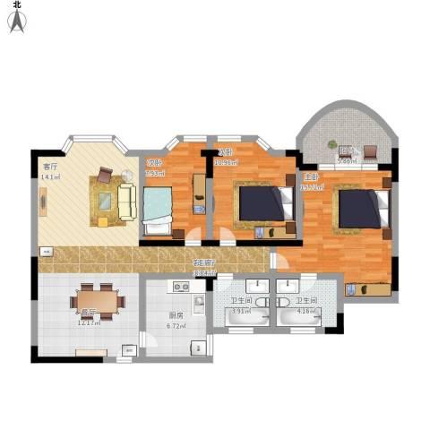 金色港湾3室1厅2卫1厨131.00㎡户型图