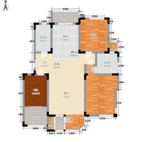 第六田园3室0厅2卫0厨141.00㎡户型图