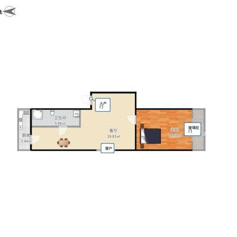 小康小区1室1厅1卫1厨79.00㎡户型图