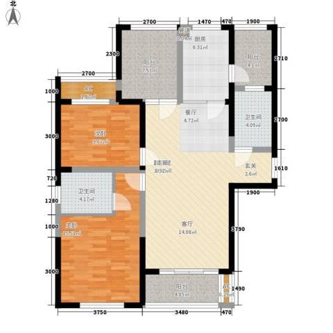 长高圆梦佳苑2室0厅2卫1厨113.00㎡户型图