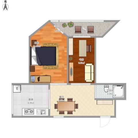沙塘园2室1厅1卫1厨56.00㎡户型图