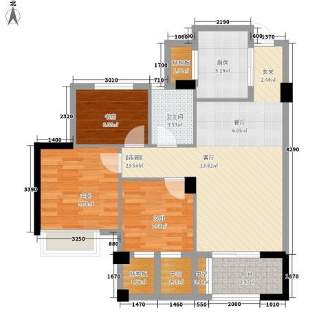 滨江城市之星3室0厅1卫1厨89.00㎡户型图