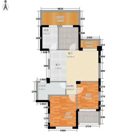 滨江城市之星2室0厅1卫1厨88.00㎡户型图