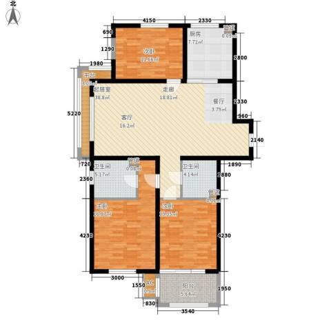 三箭汇福山庄3室0厅2卫1厨123.00㎡户型图