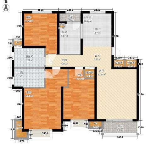 天房美域华庭3室0厅2卫1厨132.00㎡户型图