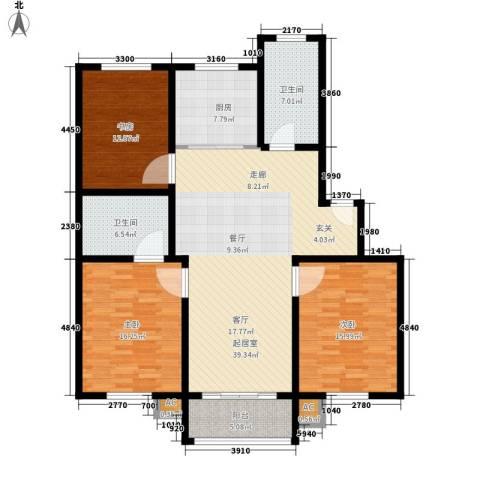 印象生活广场3室0厅2卫1厨127.00㎡户型图