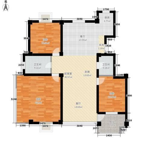 银河景苑3室0厅2卫0厨116.00㎡户型图
