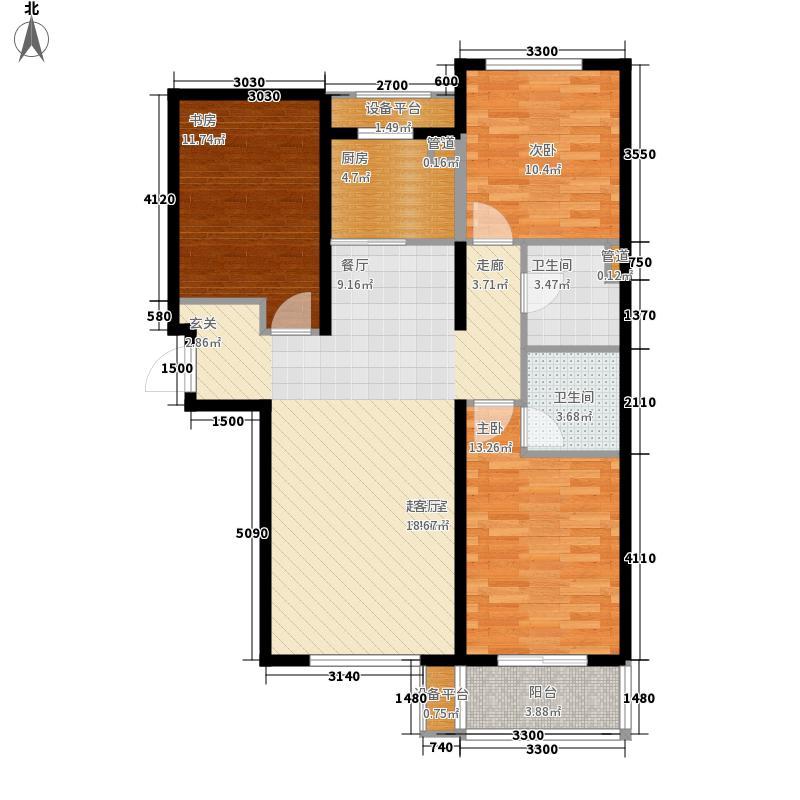 金屋秦皇半岛124.81㎡八区9号楼C户型3室2厅