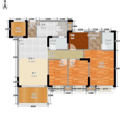 滨江一号4室1厅2卫1厨136.00㎡户型图