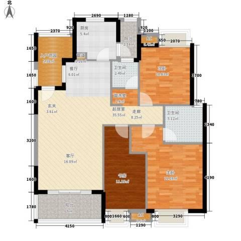 卧龙湾3室0厅2卫1厨144.00㎡户型图