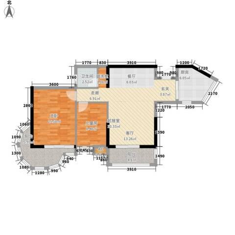 卧龙湾2室0厅1卫1厨93.00㎡户型图