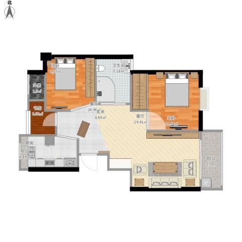 瑶溪凤凰城3室1厅1卫1厨91.00㎡户型图