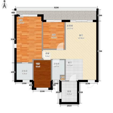 双大・山湖湾3室0厅2卫1厨102.00㎡户型图