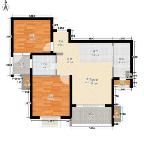 美岸青城幸福里2室0厅1卫1厨80.00㎡户型图