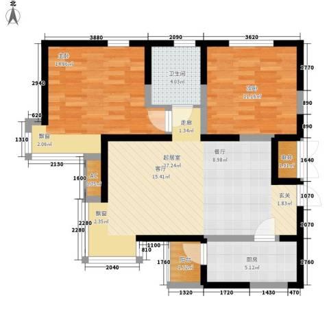 建投观海2室0厅1卫1厨92.00㎡户型图