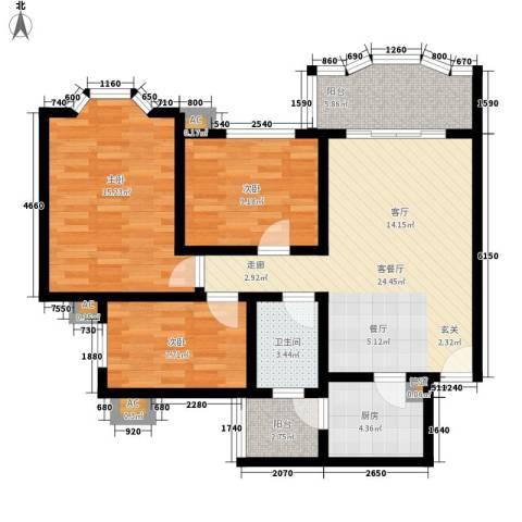 祈福新村康怡居3室1厅1卫1厨88.00㎡户型图