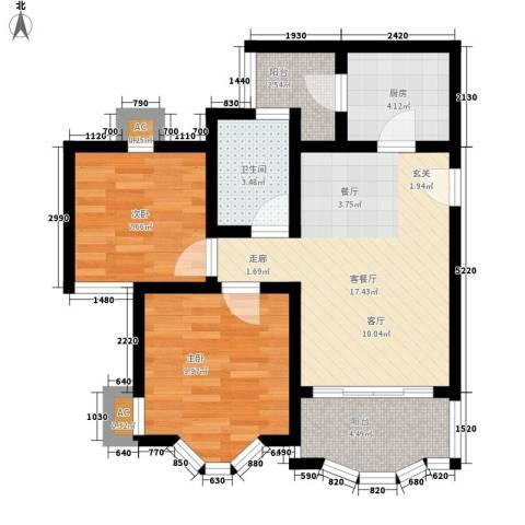 祈福新村康怡居2室1厅1卫1厨61.00㎡户型图