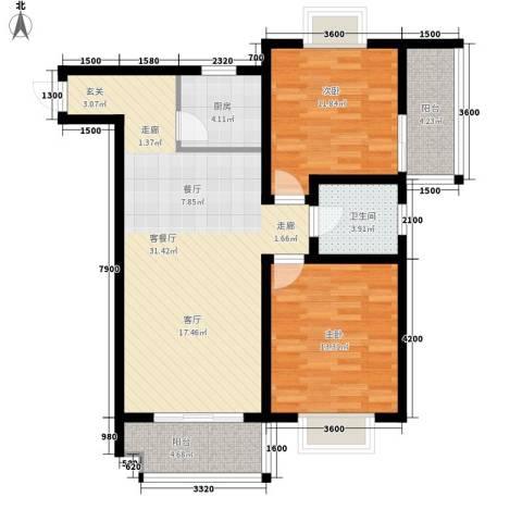 华旗东郡2室1厅1卫1厨107.00㎡户型图