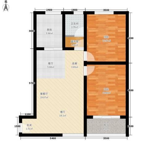 华旗东郡2室1厅1卫1厨103.00㎡户型图