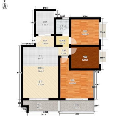 华旗东郡3室1厅1卫1厨122.00㎡户型图