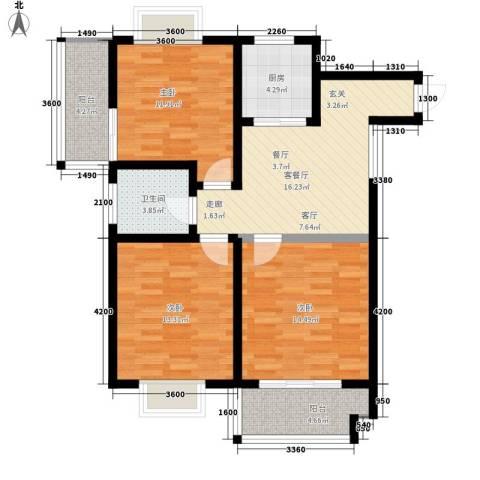 华旗东郡3室1厅1卫1厨114.00㎡户型图