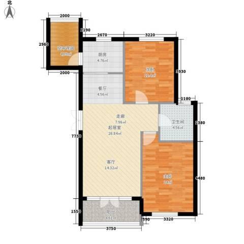 万城华府2室0厅1卫1厨100.00㎡户型图