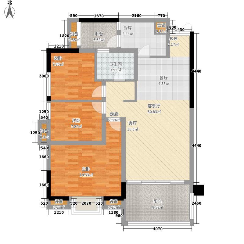豪利花园104.47㎡祥云阁2-10层B02单位户型