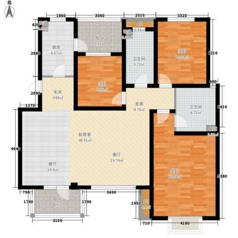 金厦水语花城3室0厅2卫1厨173.00㎡户型图