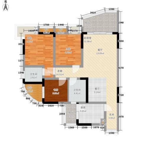 水务龙城天都3室0厅2卫1厨91.00㎡户型图