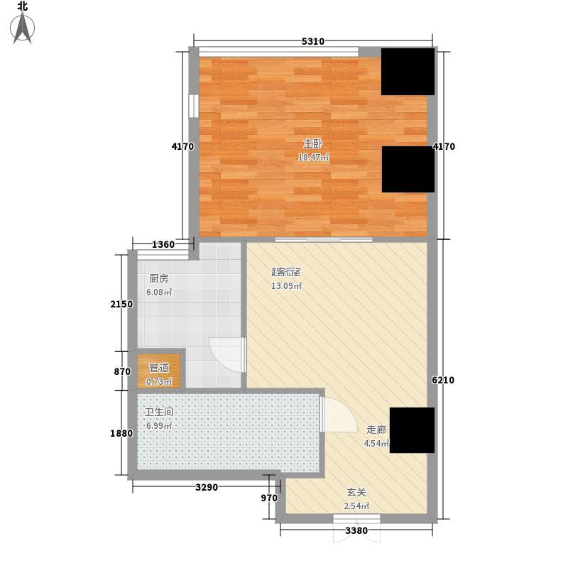 融创奥城天玺60.94㎡二期高层23号楼标准层14户型