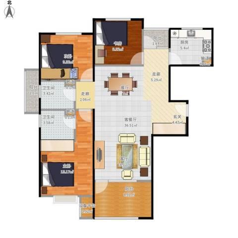 中铁·秦皇半岛3室1厅2卫1厨126.00㎡户型图