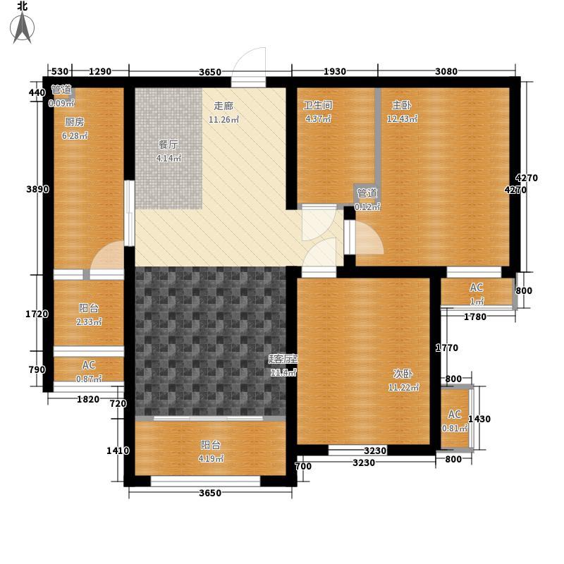 三箭汇福山庄82.00㎡3号楼观景洋房 两室两厅一卫户型2室2厅1卫