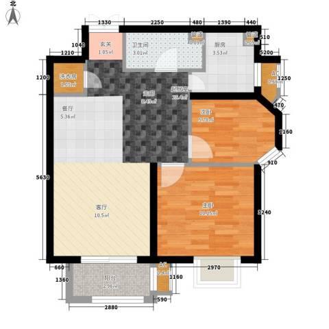 首开・国风美仑2室0厅1卫1厨80.00㎡户型图