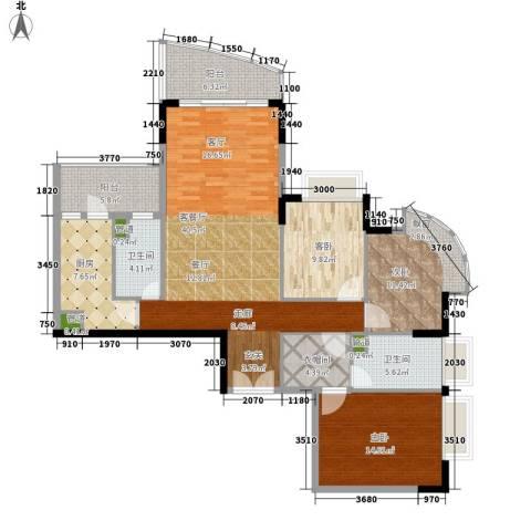 东山紫园3室1厅2卫1厨127.00㎡户型图