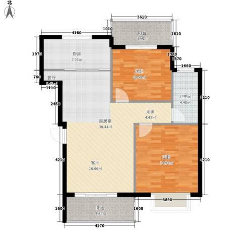 三城花苑2室0厅1卫1厨87.00㎡户型图