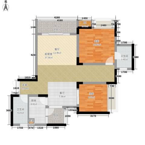 金科绿韵康城2室0厅2卫1厨84.00㎡户型图