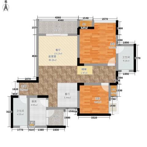 金科绿韵康城2室0厅2卫1厨89.00㎡户型图