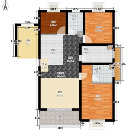 嘉恒・格林恬园3室1厅2卫1厨128.00㎡户型图
