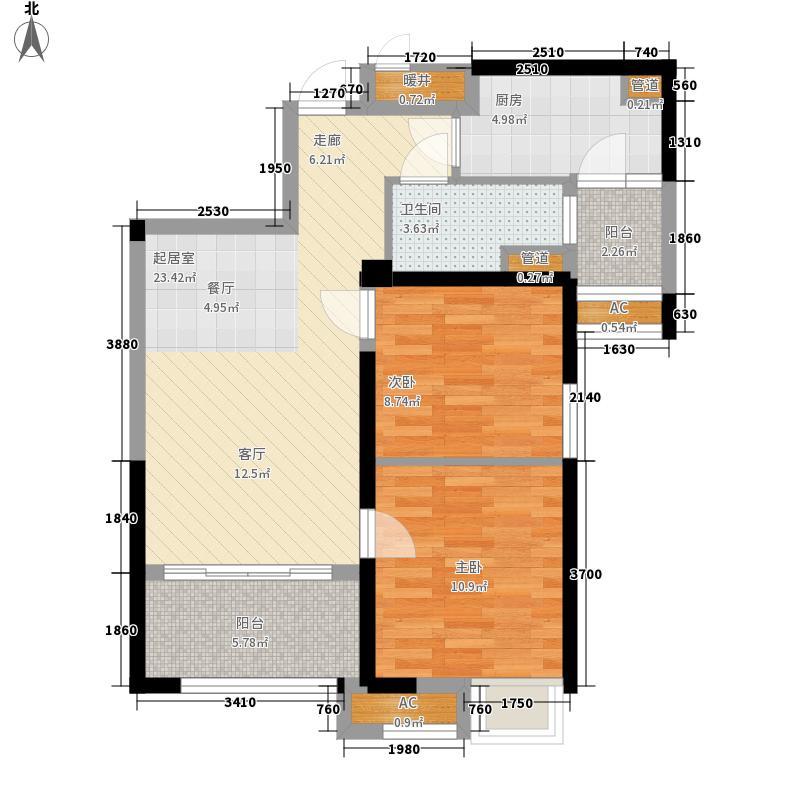 青岛碧桂园84.10㎡湖景洋房J552户型2室2厅