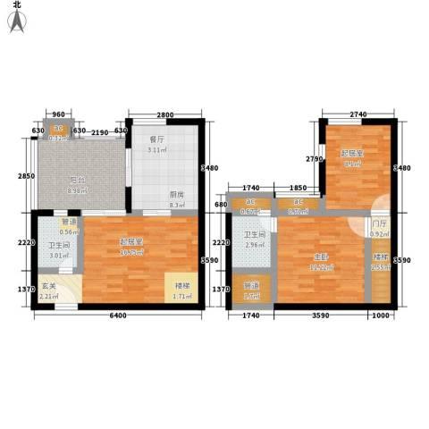 玛雅上层1室0厅2卫1厨78.00㎡户型图
