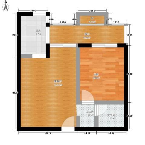 玛雅上层1室1厅1卫1厨57.00㎡户型图
