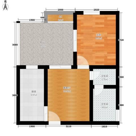 玛雅上层1室1厅2卫1厨63.00㎡户型图