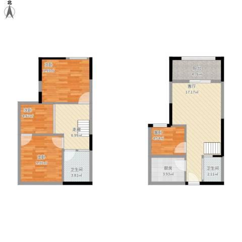 融创伊顿濠庭4室1厅2卫1厨95.00㎡户型图