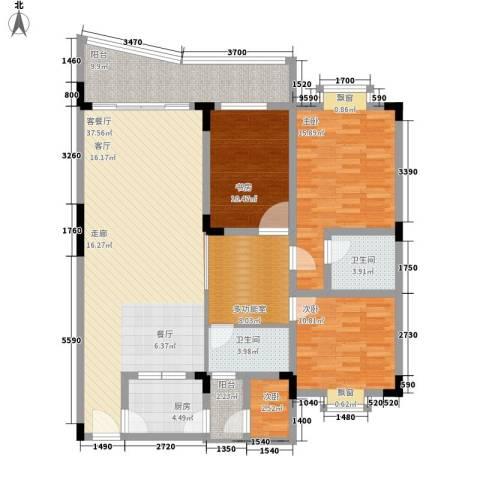 银海峰景4室1厅2卫1厨119.00㎡户型图