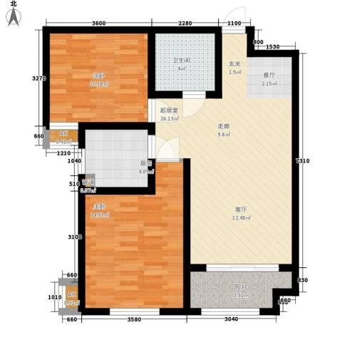 御华园2室0厅1卫1厨86.00㎡户型图