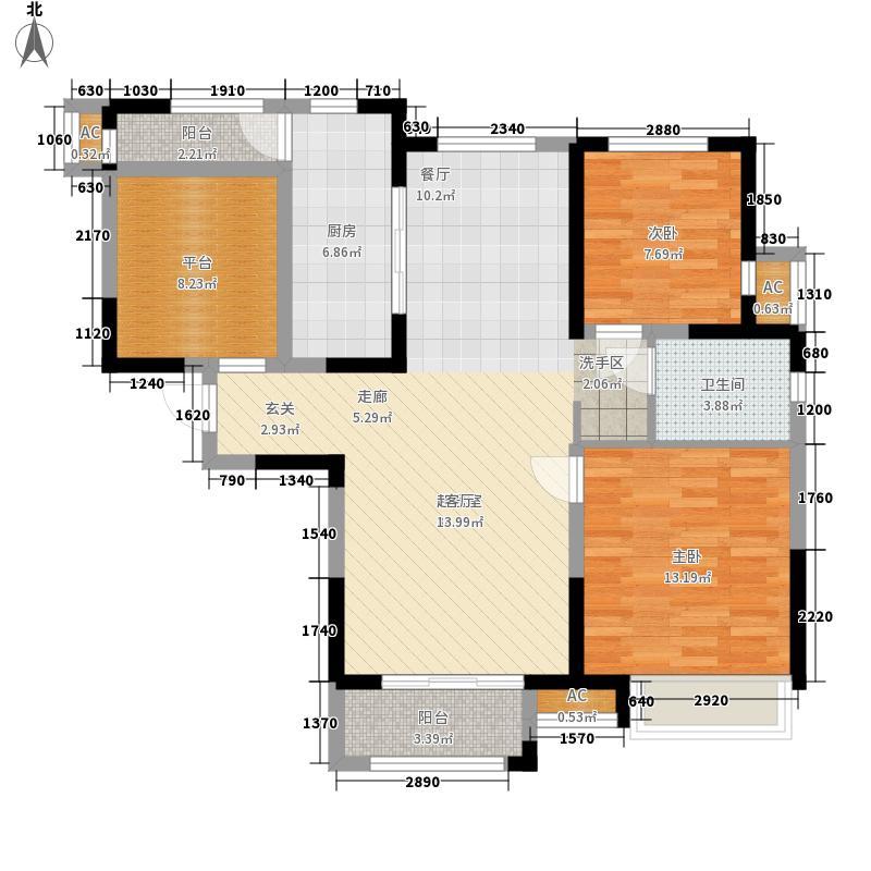 万科金域华府95.00㎡洋房标准层C户型3室2厅