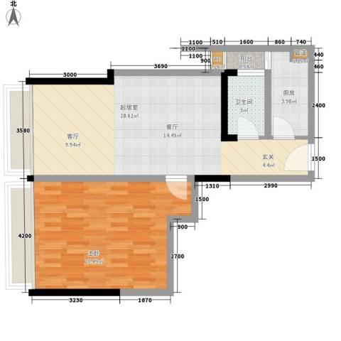 水岸立方1室0厅1卫1厨85.00㎡户型图
