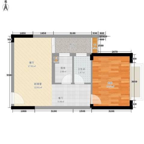 水岸立方1室0厅1卫1厨66.00㎡户型图