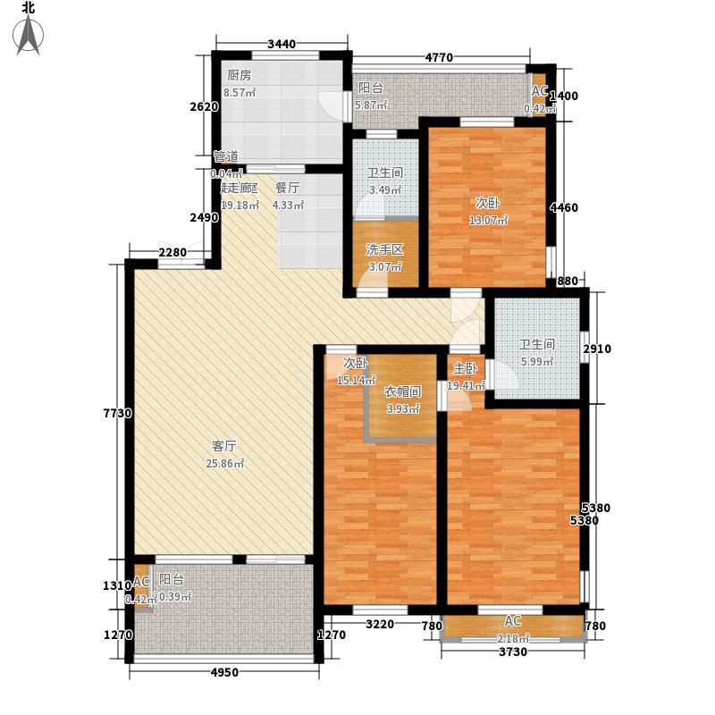 三箭汇福山庄162.00㎡22号楼 三室两厅两卫户型3室2厅2卫